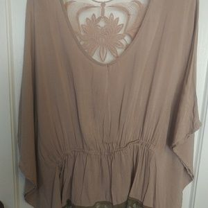 Lush tan top with lace detail